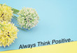 "Motivation quote ""ALWAYS THINK POSITIVE"" over colorful colored paper with artificial flower and decoration. Selective focus applied."