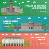 Warsaw tourist landmark banners. Vector illustration with Poland famous buildings. Travel concept. - 113806538