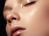 Beautiful young woman with perfect clean shiny skin - 113808125