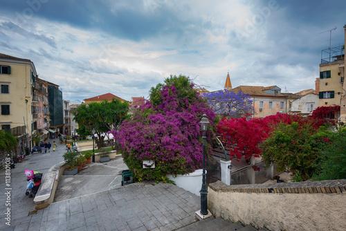 Along the narrow streets of Corfu island, Greece