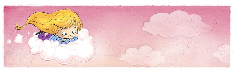 niña volando con nube