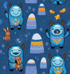 Seamless pattern with cute cartoon monsters