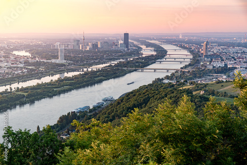 Skyline of capital city Vienna and Danube Island with the Donau City , Austria