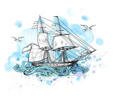 Background with sailing vessel - 113818906