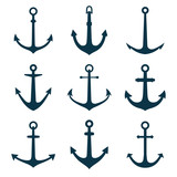 Anchors set. Vector illustration of anchors silhouette.