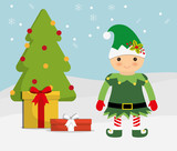 elf cartoon and pine tree  icon. Merry Christmas design. vector