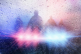 Police crime scene, rain background with police lights - 113821907