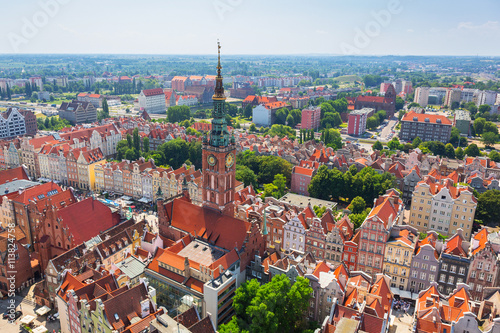 Aerial view of the old town of Gdansk with city hall, Poland
