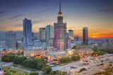 Fototapety Warsaw. Image of Warsaw, Poland during twilight blue hour.