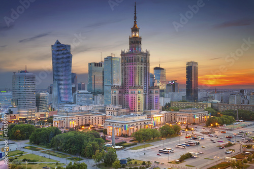 obraz PCV Warsaw. Image of Warsaw, Poland during twilight blue hour.