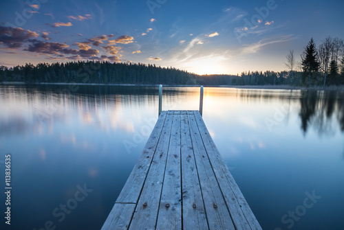 fototapeta na ścianę Wooden pier on the lake