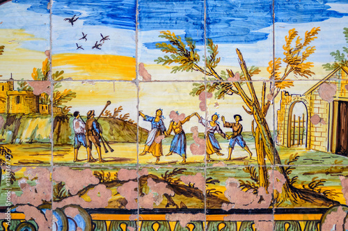 Foto op Plexiglas Trappen A detail of old historic maiolica ceramic tiles - outdoor wall decorations in Naples