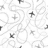 Fototapety Seamless pattern with watercolor airplanes. Travel around the world concept. Vector background.