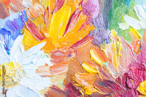 Oil painting, closeup fragment with colorful bouquet © evannovostro