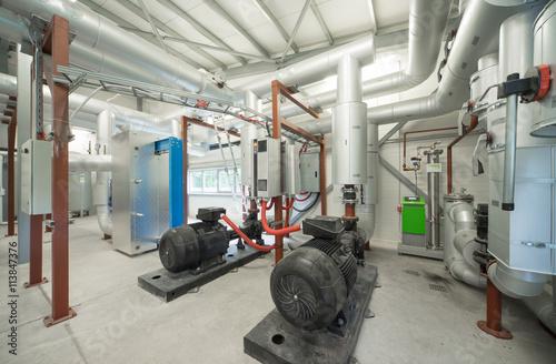 Staande foto Industrial geb. Pump room. Modern boiler room. Engine room.