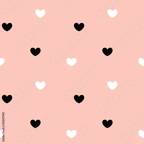 cute hearts seamless vector pattern background illustration