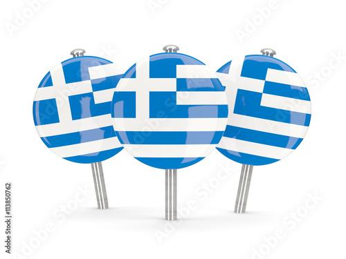 Zdjęcia na płótnie, fototapety, obrazy : Flag of greece, round pins
