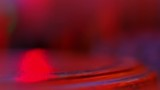 4K Red Light Reflection On Antique Wood Table, Out of Focus Bokeh