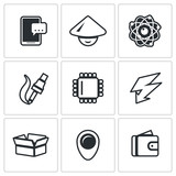 Vector Set of Electronic Industry Icons. Smartphone, Asian, Nucleu and electron, Manufacture, Processor, Charge, Pack, Place, Sale.