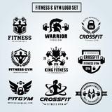 Fototapety Fitness logo set, GYM logo, Cross fit logo,Women fitness logo,Yoga logo,Vector logo template.
