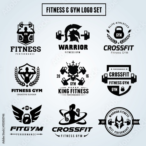 Fitness And GYM Logo Set , Cross Fit ,Women Yoga Vector