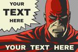Fototapety Red superhero. Speech bubble. Pop-art  background