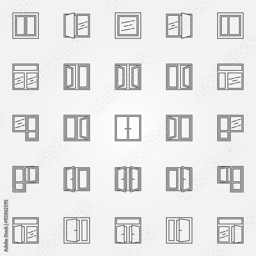 Window icons vector set - 113862595