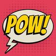 Pow comic book bubble text retro style
