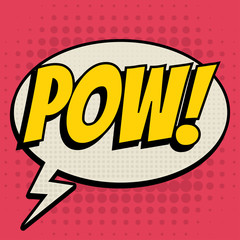 Pow comic book bubble text retro style