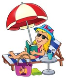 Girl on sunlounger image 1