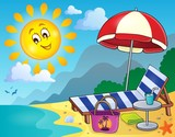 Sunlounger on beach image 1