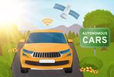 Autonomous self-driving car vector illustration, driverless technology - 113884172
