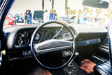 Inside view of classic american muscle car.