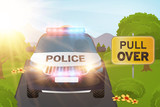 Police car in the nature with pull over sign vector illustration - 113884353