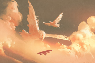 birds shaped cloud in sunset sky,illustration painting © grandfailure