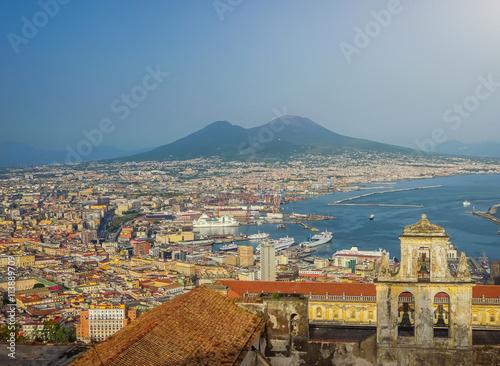 Aluminium City of Naples (Napoli) with Mt Vesuvius at sunset, Campania, Italy
