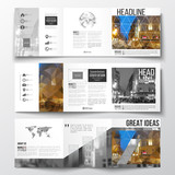 Set of tri-fold brochures, square design templates. Colorful polygonal background, blurred image, night city landscape, modern stylish triangular vector texture.