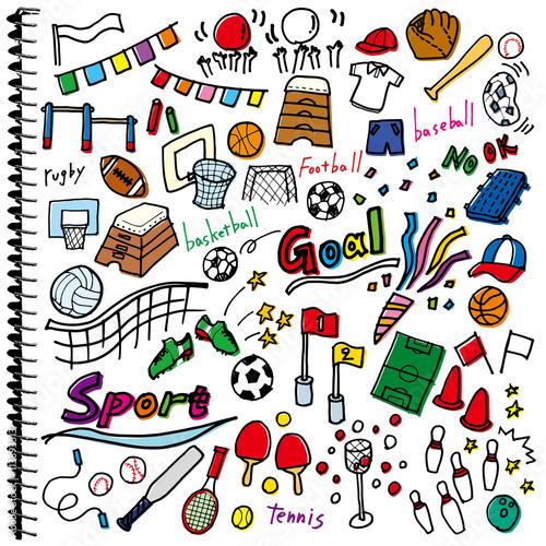 スポーツ 落書き ノート カラー 白