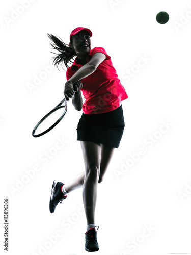 Plakat woman tennis player sadness silhouette