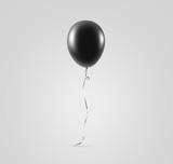 Fototapety Blank black balloon mock up isolated. Clear grey balloon art design mockup holding in hand. Clean pure baloon template. Logo, texture, pattern presentation plain aerostat design element.