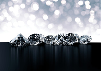 Group of Diamonds and bokeh background 3d rendering.