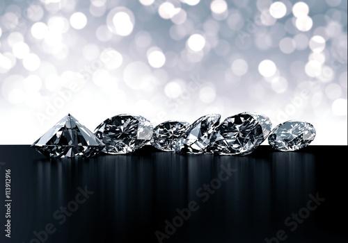 Grupa diamenty i bokeh tła 3d rendering.