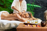 Fototapety asian back massage theraphy spa hot stone
