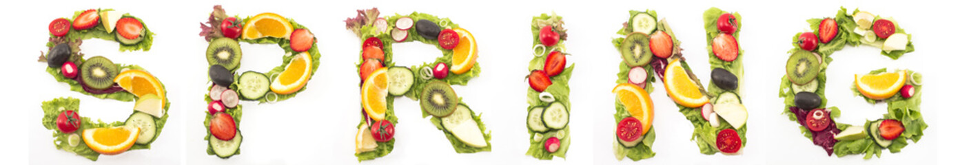 Word Spring Made of Salad and Fruits