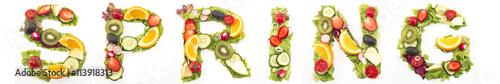 Foto op Plexiglas Verse groenten Word Spring Made of Salad and Fruits