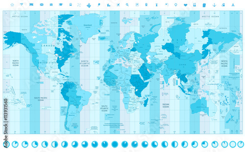Globe Time Zones Map on