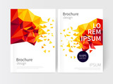 Minimalistic White cover Brochure design. Flyer, booklet, annual report cover template. modern Geometric rainbow, multicolor, bright Abstract background. Blue,yellow and red scatter triangles.