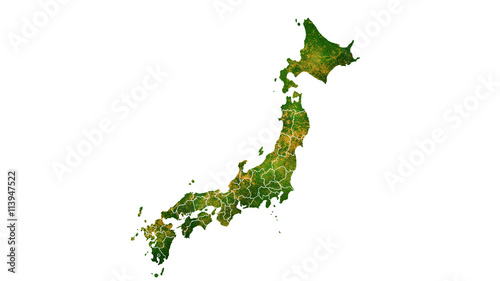 Japan country map detailed visualisation © aki230990