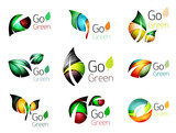 Green nature leaf vector concept icon set