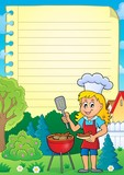 Lined paper with barbeque theme 2